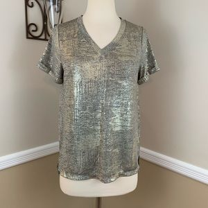 Akemi + Kin Charelle Metallic V Neck Tee T Shirt